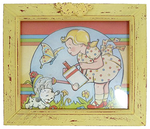 Mary Engelbreit Poster (Collectible Print by Mary Engelbreit with Faux Antique Yellow Wooden Frame)