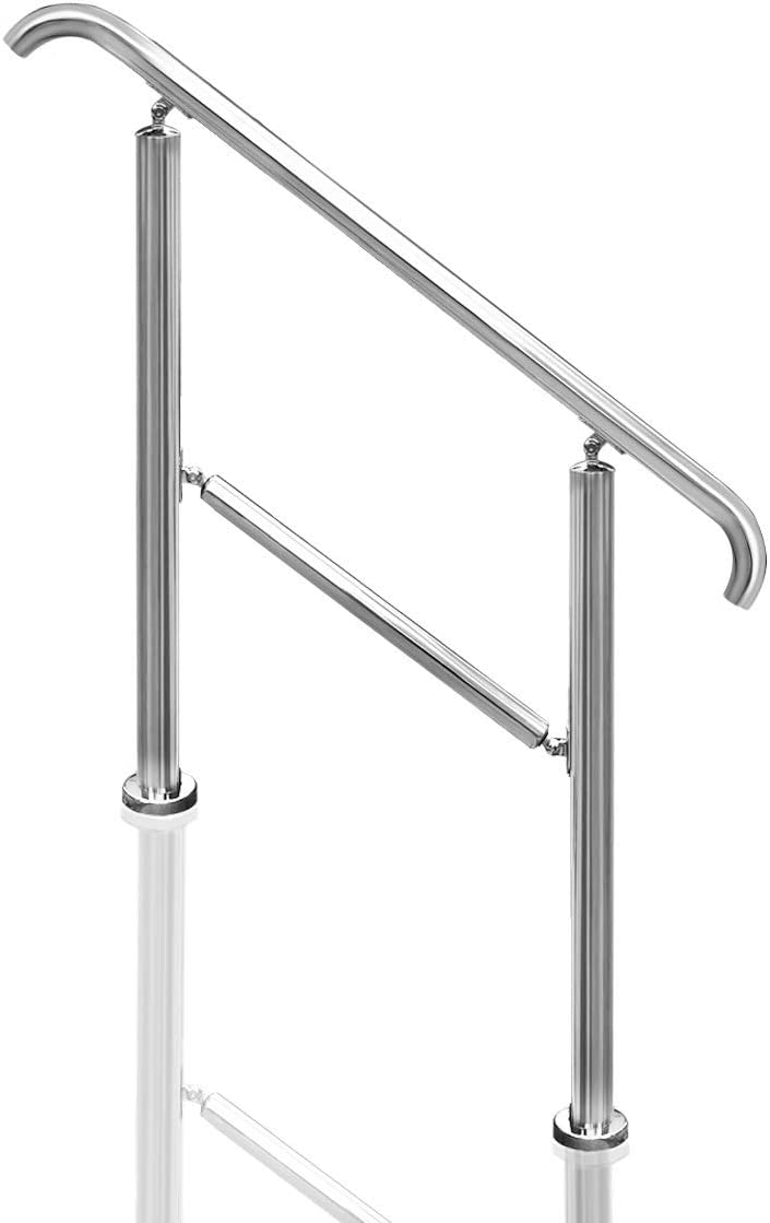 Transitional Handrail Stainless Steel Fits Level Surface and 1to 3 Steps Stair Railing with Installation Accessories Porch Hand Rails for Outdoor Indoor (Style 2)
