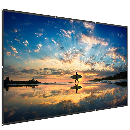 TaoTronics 120 Inch 16:9 Projector Screen - High Contrast 4K HD PVC Projection Movie Screen for Party and Home Theater (1.2 Gain, Wide 160° Viewing Angle, Waterproof and Easy to Clean) (The Sharper Image In Home Professional Garment Steamer)
