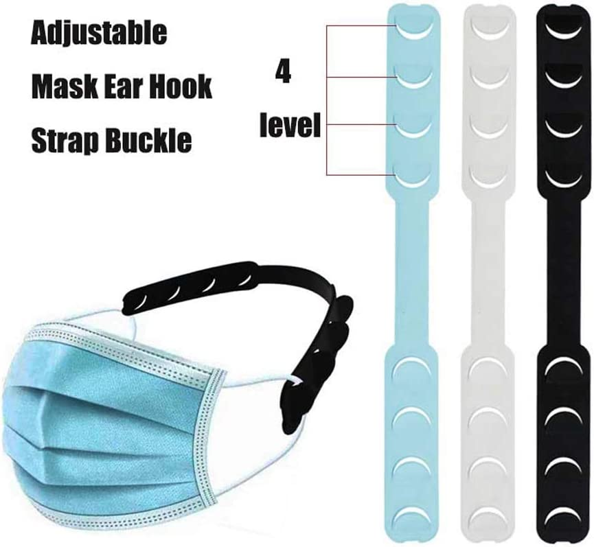 Lovinland 10PCS Strap Extender Ear Hook Strap Buckle for Mask 4 Gear Adjustable Anti-Slip Ear Hook Ear Protector Decompression Holder Ear Grips Extension Mask Buckle Ear Pain Relieved for Nurse,Dust-Workers Food-Workers