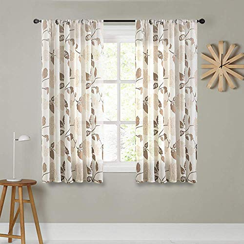 Sheer Curtains Linen Blend Textured 72 inches Long Living Room Semi Sheers Floral Printed Bedroom Curtain Panels Brown Flower Leaves Print Window Treatment 2 Panels Rod Pocket Light Filtering Drapes (Curtain Panels Sheer Print)