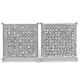 Silver Tone Iced Out Square TC Micro Pave Screw Back 11 Line Earrings
