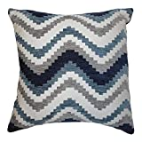McAlister Navajo Plush Textured Chenille 16' Decor Pillow Cover | Navy Demin Blue Zip 16x16 Throw Cushion Case | Zig Zag Woven Linen Modern Aztec Moroccan Boho Accent