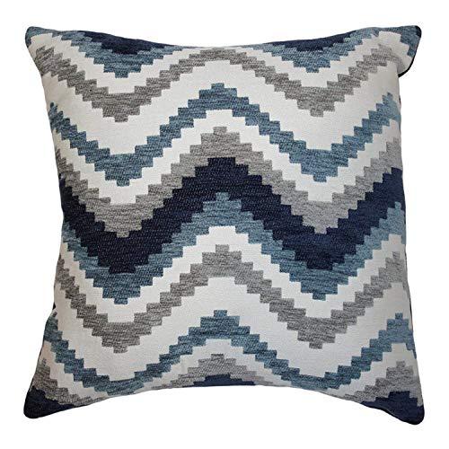 McAlister Textiles Navajo | Woven Pillow Cover Sham in Denim Blue | Square 24x24 Inches | Striped Zig Zag Chevron Aztec Decorative Zip Pillowcase Cushion Case Moroccan Boho Accent Decor