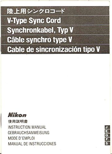 Nikon V-Type Sync Cord Original Instruction Manual - Multi-Language