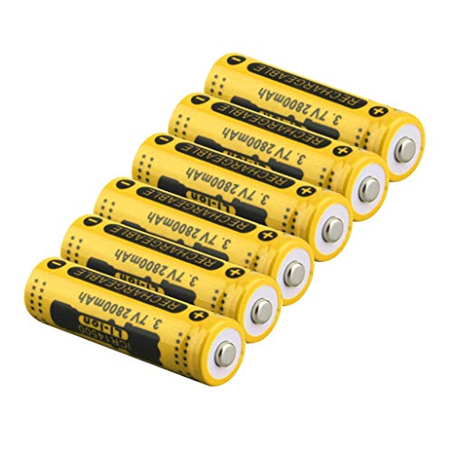 (Sodoop 6 Pcs Rechargeable Li-ion, 2800mAh 3.7V 14500 Flat Top Lithium Cylindrical Battery for Electric Tools, Toys, LED Flashlights,Power Tools Etc)