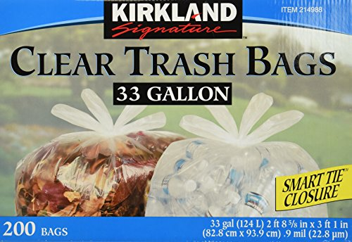 Kirkland Signature Clear Trash Bags with Smart Closure, 33 G