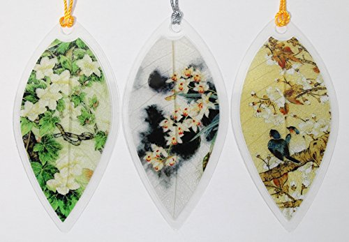 Lucore Leaf Bookmarks - Asian White Flowers Painting Lucky Charm, Ornament, Hanging & Wall Decor, Art Decoration - 3 Pcs, Made of Real Leaves