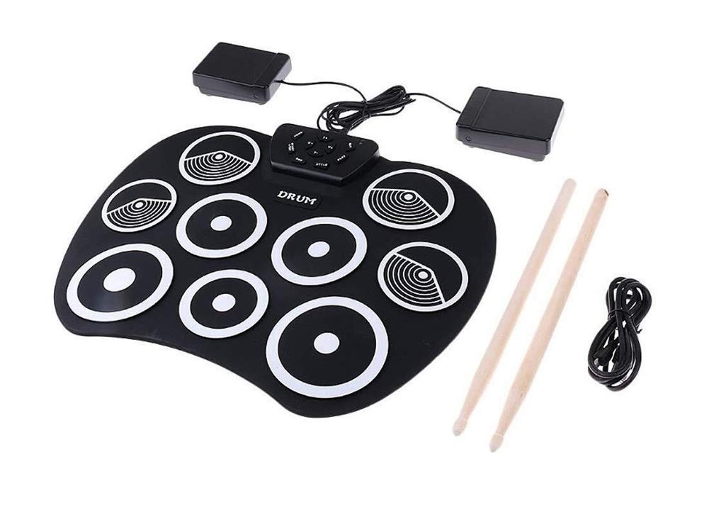 Electronic drum Set, 9 Pads Portable USB Electronic Roll Up Drum Pad Kits Foldable Practice Instrument with 2 Foot Pedals and Drum Sticks