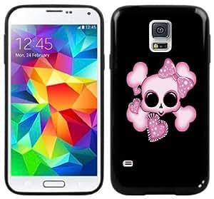 Cute Skull Pink Hearts Handmade Samsung Galaxy S5 Black Case