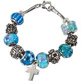 Memorial Gallery Celestial Blue Remembrance Bead Pet Cross Urn Charm Bracelet, 9''