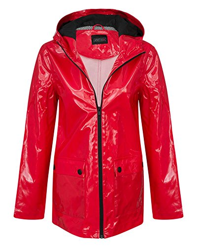 (Womens Showerproof Shiny Hooded Coat Ladies Jacket Mac)