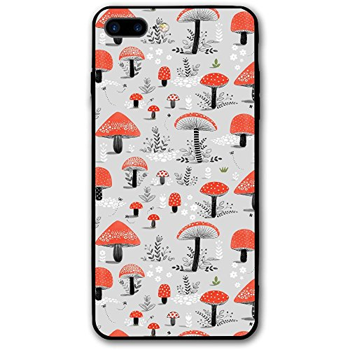 5.5 Inch Iphone 8 Plus Case Red Mushroom Seamless Art Anti-Scratch Shock Proof Hard PC Protective Case Cover