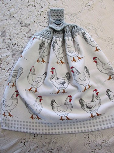 Gray Gingham Chickens Hanging Kitchen Towel - Gray Crochet Top - Double Thickness Best Quality (Kitchen Towel Top)
