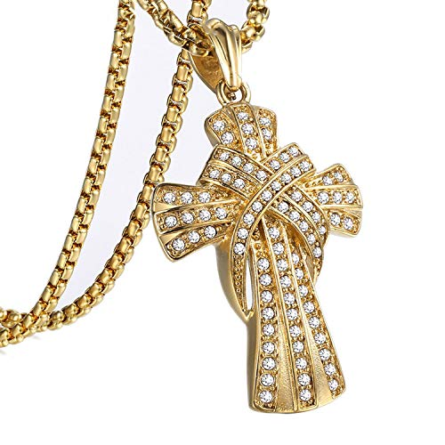 (Crucifix Slide Cz Cross Pendant Necklaces for Men Gold 316l Stainless Steel Mens Pendant Necklace Jewelry,34inch Chain)