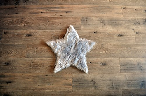 Machine Washable Faux Sheepskin Light Grey Star Rug 2' x 2' - Soft and silky - Perfect for baby's room, nursery, playroom - Fake fur area rug (Star Small Light Grey) by kroma Carpets (Image #7)