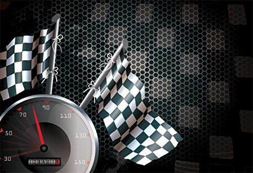 CSFOTO 6x4ft Background for Chequered Flag Racing Flag Speed Dial Photography Backdrop Abstract Racing Element Racer Speed Passion Crazy Race Car Competition Photo Studio Props Polyester Wallpaper