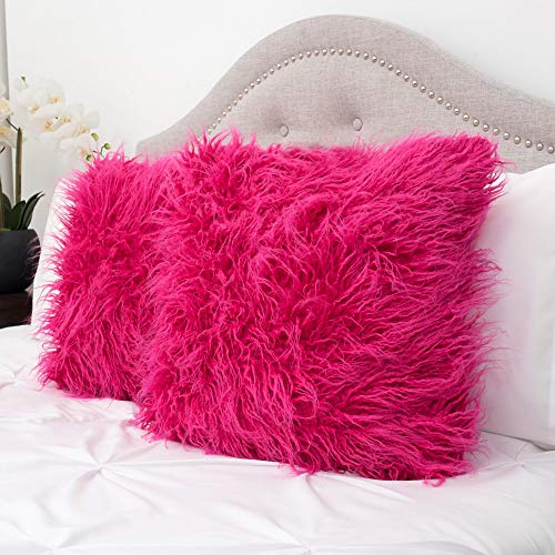Sweet Home Collection Decorative Throw Pillows Set of 2 Mongolian Long Hair Faux Fur Accent Soft and Fuzzy Cushion, Hot Pink