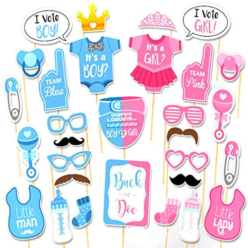 Gender Reveal Party Photo Booth Props Kit On Sticks Vote Boy or Girl? Gift Party Decorations Selfie Frame 30 PCS