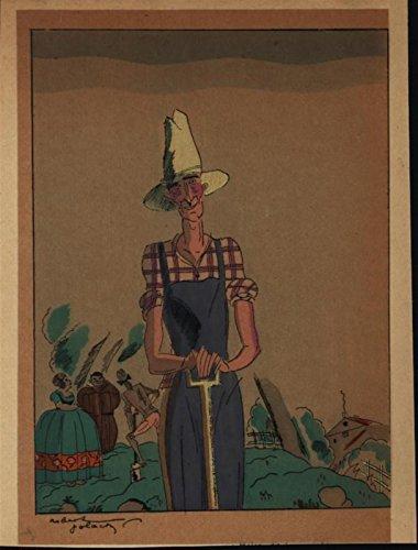 Quaint Cheerful Farmer Digging c.1930 vintage hand color pochoir art deco print