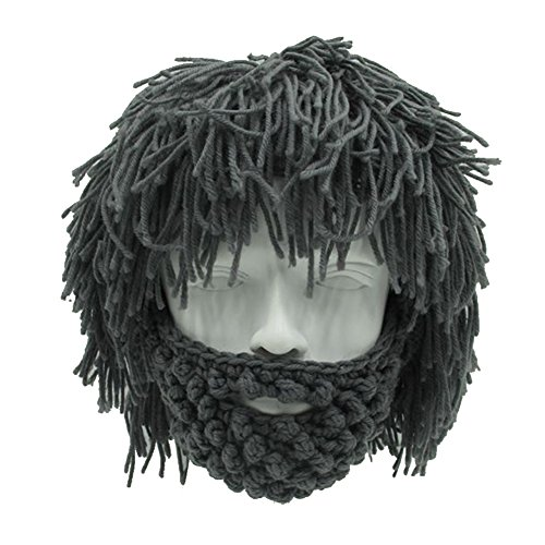 MerryJuly Men's Head Barbarian Vagabond Beanie Original Foldaway Beard Hats Halloween Viking Horns Bearded Caps (Grey Wig & Grey Mask)