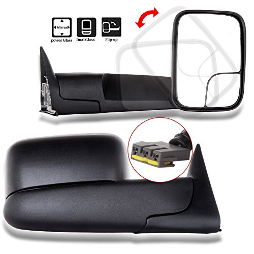 (SCITOO Compatible fit for Towing Mirrors 1994 1995 1996 1997 Dodge Ram 1500 2500 3500 Truck Black Power Operation Pair Set Mirrors)