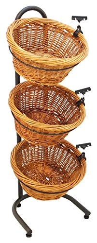 FixtureDisplays 3 Tier Basket Stand, Sign Clips, Wicker - Black 19425