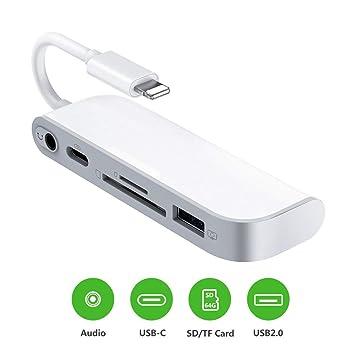 SD TF lector de tarjetas, adaptador de USB a Lightning, adaptador de lector de tarjetas 5 en 1 con 1 interfaz USB 2.0 OTG, lector de tarjetas SD/TF, 1 ...