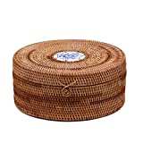 Handmade Rattan Woven Pu-erh Tea Cake Storage Box Canister Kitchen Container
