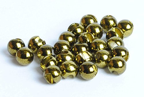 Metallic 25 Beads (Slotted Tungsten Beads for Fly Tying- 25 Pack (Metallic Olive, 2.8 mm (7/64