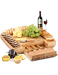 Natural Bamboo Cheese Board & Charcuterie Platter w/Hidden Drawer for Cutlery Set - Perfect Gift Idea for Birthday, Wedding, Housewarming, Mom - Serves Crackers, Meats, Fruits & Cheese