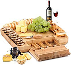 DRAGONN 100% Natural Bamboo Cheese Board u0026 Charcuterie Platter with Slide-Out Drawer for  sc 1 st  Amazon.com & Amazon.com: Cheese Plates: Home u0026 Kitchen