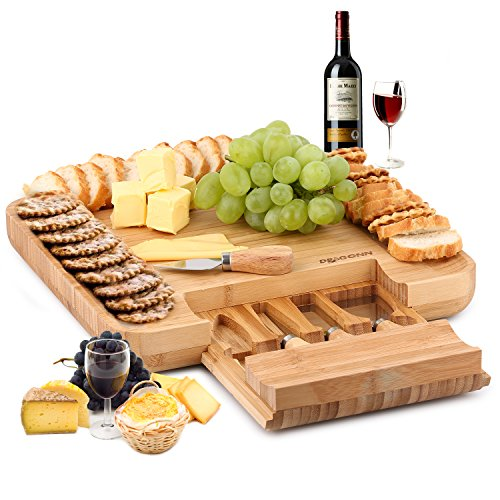 DRAGONN 100% Natural Bamboo Cheese Board & Cutlery Knife Set with Slide-Out Drawer
