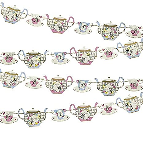 22x23.5x1 cm Fabric Multicolour 4 metre Talking Tables Truly Alice Decorative Teapot Party Bunting