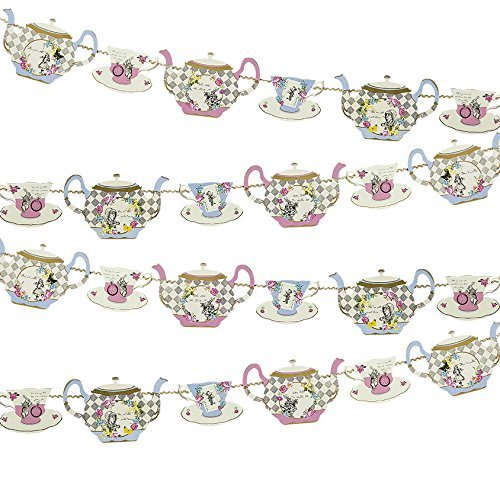 Theme Tea - Talking Tables Truly Alice Hanging Teapot Bunting (4m) a Tea Party, Multicolor (2 Pack)