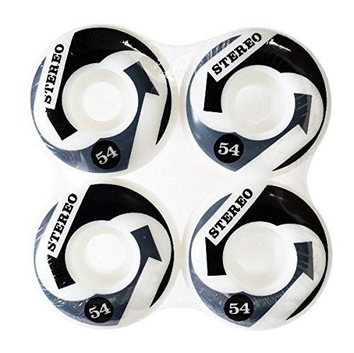 フレキシブル回転偽物【STEREO Skateboards】 スケートボード ステレオ 54mm 99A(99DU) ARROWS 白/黒/グレー ウィール