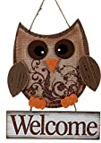 Autumn Owl Wood and Burlap Rustic Wall Hanging Welcome Sign (Welcome)