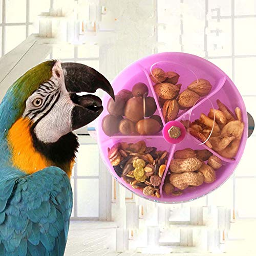 Bird Foraging Toy Seed Food Ball Rotate Wheel for Parrot Parakeet Cockatiel Conure African Grey Cockatoo Macaw Amazon Budgie Lovebird Finch Canary Cage Feeder