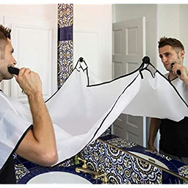 Beard Apron For Man Shaving & Hair Clippings Catcher Grooming Cape Apron Keep Sink Clean - White