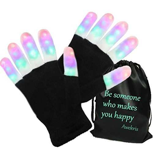 Awekris 3 Colors 6 Modes Flashing Rave Gloves with Storage Bag Halloween Costume Party Favors Light Up Toys Novelty Christmas Gift LED Gloves Finger (Rave Halloween Costumes 2017)
