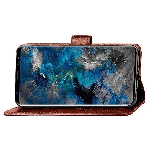 GR Funda Samsung Galaxy S9 Funda Lucky Trébol con textura en relieve de cuero con función de billetera y Kickstand ( Color : Blue ) Brown