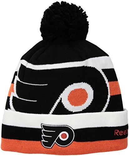 fan products of NHL New Jersey Devils SP17 Striped Cuffed Knit Pom Headwear, Black, One Size