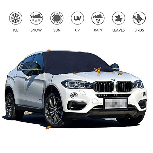 Warmfits Car Windshield Cover, Car Frost Windshield Cover Shade Shield Sun Blocker Protector Prevent Snow Ice Frost Leaves Dust on Windshield for Car SUV Van Small Trucks