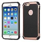 Funda Case para iPhone 6s / iPhone 6 Doble Protector de Uso Rudo con acabado de Piel y Contorno Brilloso (Negro)