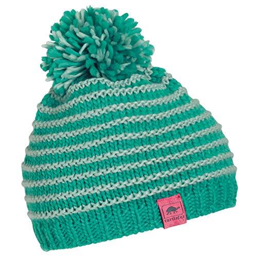 Heavyweight Knit Cap - Turtle Fur Marcy Girl's Fleece Lined Oversized Pom Hand Knit Winter Hat Emerald
