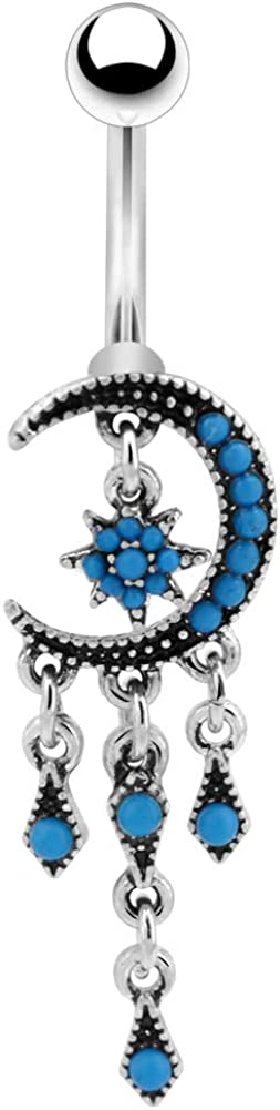 COCHARM Belly Button Rings Surgical Steel Moon and Star Dangle 14G Nave Piercing Jewelry Ring