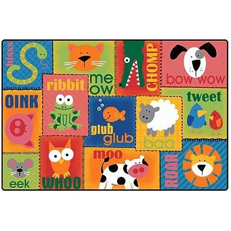 Carpets For Kids 2901 Animal Sounds Carpet 4 X 6 4 X 6 4 X 6 Orange