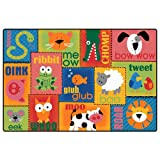 Carpets for Kids 2900 Animal Sounds Carpet (6' x 9') (6' x 9'), 6' x 9' , Orange