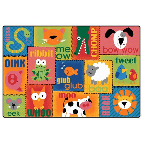 Printed Animal Sounds Toddler Kids Rug - Size: 6' x 9'
