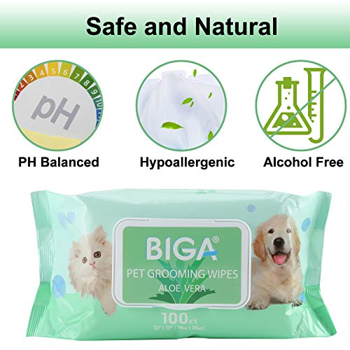 Deodorizing Hypoallergenic Pet Wipes with Fragrance Free Natural Organic and Antibacterial for Cleaning Face Butt Eyes Ears Paws Teeth 100ct per Pack (Aloe Vera 6 Pack) by BIGA (Image #2)